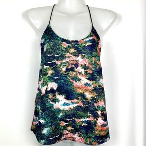 H&M Y Back Galaxy Tank Top Black Green Pink